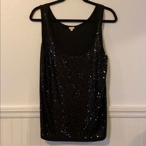 J. Crew Sequined Tank Top in Black Large New